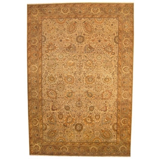 Herat Oriental Indo Hand-knotted Vegetable-dyed Tabriz Wool Rug (12'6 x 18'4)