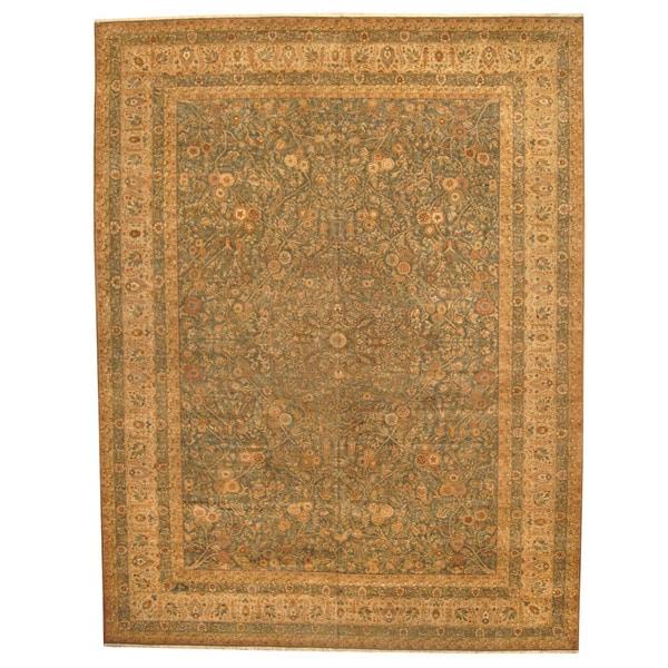 Herat Oriental Indo Hand-knotted Vegetable Dye Tabriz Wool Rug (13' x 17'4)