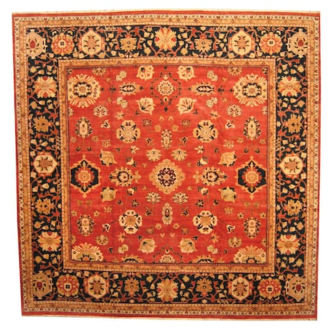 Herat Oriental Afghan Hand-knotted Vegetable Dye Oushak Wool Rug (14'3 x 14'6) - 14'3 x 14'6