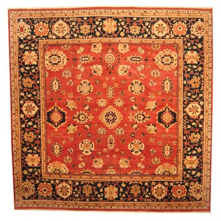 Herat Oriental Afghan Hand-knotted Vegetable-dyed Oushak Wool Rug (14'3 x 14'6)
