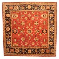 Handmade Herat Oriental Afghan Vegetable Dye Oushak Wool Rug (Afghanistan) - 14'3 x 14'6