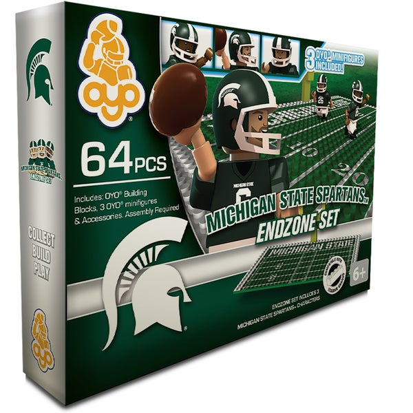 Oyo NCAA Michigan State Spartans 64-Piece End Zone Building Set