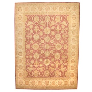 Herat Oriental Afghan Hand-knotted Vegetable-dyed Oushak Wool Rug (11'5 x 15'7)