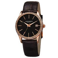 Akribos XXIV Women's Quartz Swarovski Crystal Leather Black Bracelet Watch with FREE Bangle