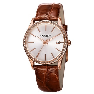 Akribos XXIV Women's Quartz Swarovski Element Crystal Leather Brown Bracelet Watch