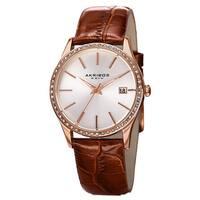 Akribos XXIV Women's Quartz Swarovski Crystal Leather Brown Bracelet Watch