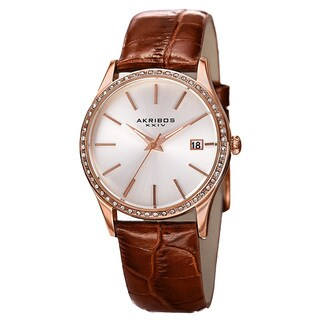 Akribos XXIV Women's Quartz Swarovski Crystal Leather Brown Bracelet Watch with FREE Bangle
