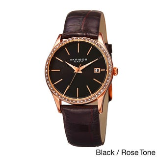 Akribos XXIV Women's Minimalist Dial Crystal Accent Leather Strap Watch (3 options available)