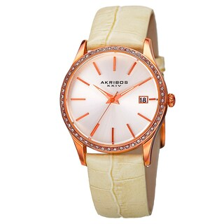 Akribos XXIV Women's Minimalist Dial Crystal Accent Leather Strap Watch with FREE Bangle