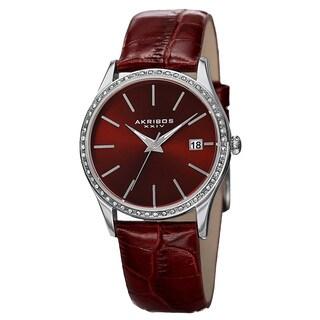 Akribos XXIV Women's Quartz Swarovski Crystal Elements Leather Red Bracelet Watch with FREE GIFT
