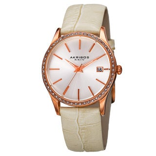 Akribos XXIV Women's Quartz Swarovski Crystal Leather White Bracelet Watch