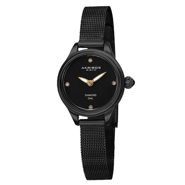 Akribos XXIV Women's Quartz Diamond Stainless Steel Black Bracelet Watch