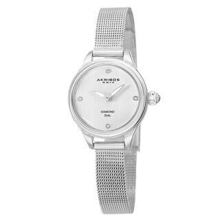 Akribos XXIV Women's Quartz Diamond Stainless Steel Silver-Tone Bracelet Watch - silver