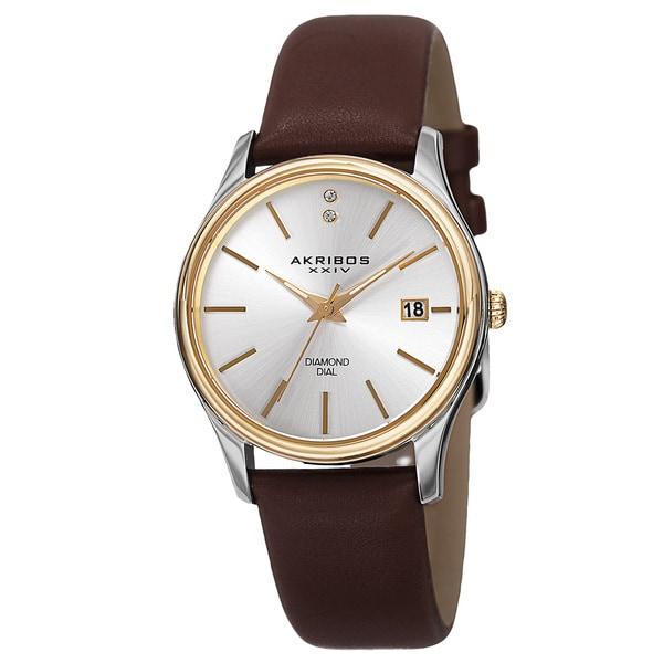 Akribos XXIV Women's Quartz Diamond Leather Brown Strap Watch