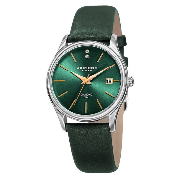 Akribos XXIV Women's Quartz Diamond Leather Green Strap Watch with FREE Bangle