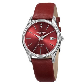 Akribos XXIV Women's Quartz Diamond Leather Red Strap Watch with FREE Bangle