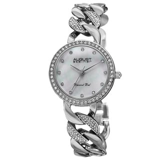 August Steiner Women's Quartz Diamond Alloy Silver-Tone Bracelet Watch