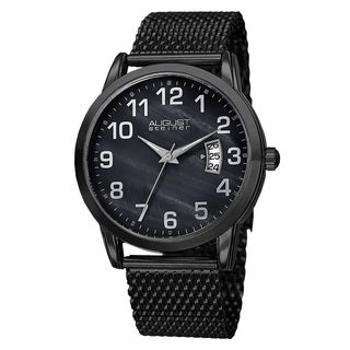 August Steiner Men's Quartz Stainless Steel Mesh Black Bracelet Watch