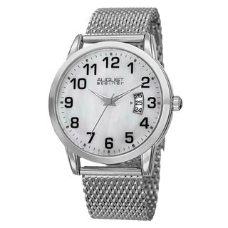 August Steiner Men's Quartz Stainless Steel Mesh Silver-Tone Bracelet Watch