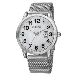 August Steiner Men's Quartz Stainless Steel Mesh Silver-Tone Bracelet Watch with FREE GIFT - Silver|https://ak1.ostkcdn.com/images/products/10522823/P17605881.jpg?impolicy=medium