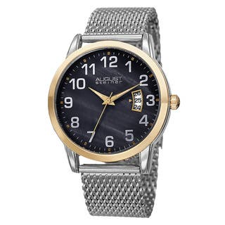 August Steiner Men's Quartz Stainless Steel Mesh Silver-Tone Bracelet Watch with FREE GIFT - Silver|https://ak1.ostkcdn.com/images/products/10522824/P17605882.jpg?impolicy=medium