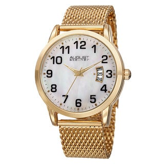 August Steiner Men's Quartz Stainless Steel Mesh Gold-Tone Bracelet Watch