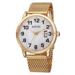 August Steiner Men's Quartz Stainless Steel Mesh Gold-Tone Bracelet Watch