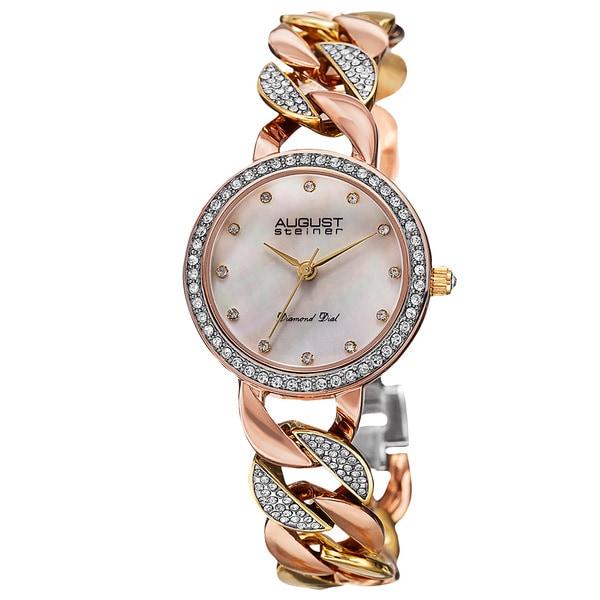 August Steiner Women's Quartz Diamond Alloy Bracelet Watch - Gold