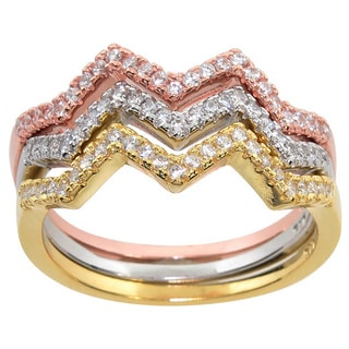 Eternally Haute Tri-color Sterling Silver Pave Cubic Zirconia Stackable Pave Chevron Rings (Set of 3)