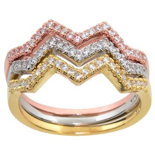Eternally Haute Tri-color Sterling Silver Pave Cubic Zirconia Stackable Pave Chevron Rings (Set of 3) - Multicolor