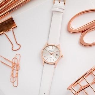 Akribos XXIV Women's Quartz Diamond Leather Strap Watch Gifts for Her