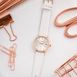 Akribos XXIV Women's Quartz Diamond Leather Strap Watch