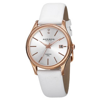 Akribos XXIV Women's Quartz Diamond Leather White Strap Watch with GIFT BOX