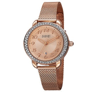 August Steiner Women's Quartz Swarovski Crystals Stainless Steel Rose-Tone Bracelet Watch