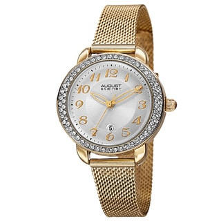 August Steiner Women's Quartz Swarovski Crystals Stainless Steel Gold-Tone Bracelet Watch