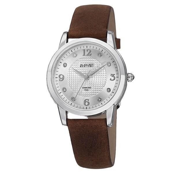 August Steiner Women's Quartz Diamond Leather Grey Strap Watch