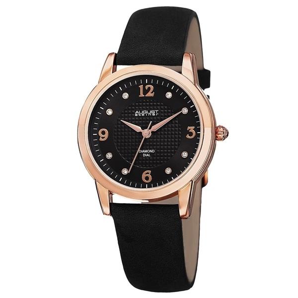 August Steiner Women's Japanese Quartz Diamond Leather Strap Watch