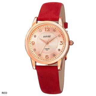 August Steiner Women's Quartz Diamond Leather Strap Watch