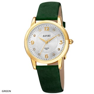 August Steiner Women's Quartz Diamond Leather Strap Watch (Option: green)