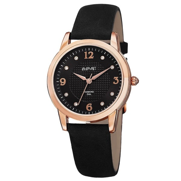 August Steiner Women's Quartz Diamond Leather Strap Watch with FREE Bangle