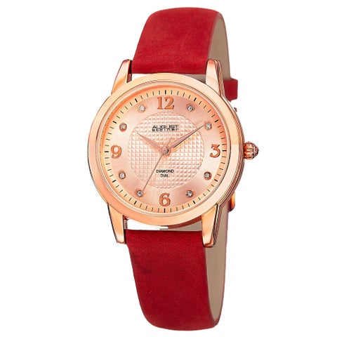 August Steiner Women's Quartz Diamond Leather Strap Watch