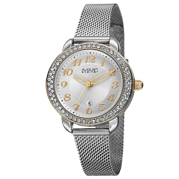 August Steiner Women's Quartz Swarovski Crystal Elements Stainless Steel Silver-Tone Bracelet Watch with FREE GIFT