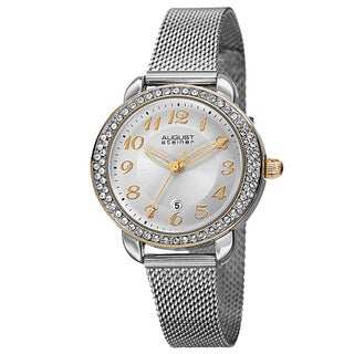 August Steiner Women's Quartz Swarovski Crystals Stainless Steel Silver-Tone Bracelet Watch