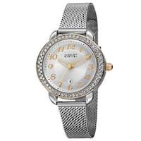 August Steiner Women's Quartz Swarovski Crystals Stainless Steel Silver-Tone Bracelet Watch - Silver
