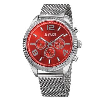 August Steiner Men's Swiss Quartz Multifunction Dual Time Stainless Steel Red Bracelet Watch