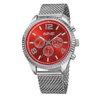 August Steiner Men's Swiss Quartz Multifunction Dual Time Stainless Steel Red Bracelet Watch