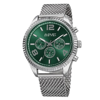 August Steiner Men's Swiss Quartz Multifunction Dual Time Stainless Steel Green Bracelet Watch