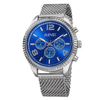 August Steiner Men's Swiss Quartz Multifunction Dual Time Stainless Steel Silver-Tone Bracelet Watch - Blue