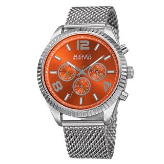August Steiner Men's Swiss Quartz Multifunction Dual Time Stainless Steel Orange Bracelet Watch