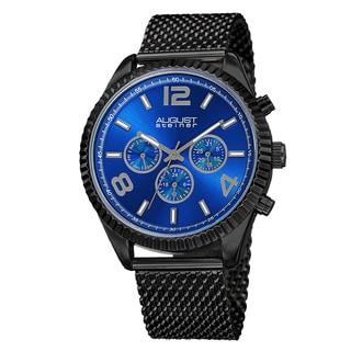 August Steiner Men's Swiss Quartz Multifunction Dual Time Stainless Steel Black Bracelet Watch